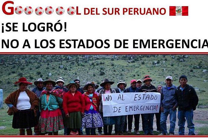 Gobierno peruano suspende estado de emergencia en el corredor vial minero del sur