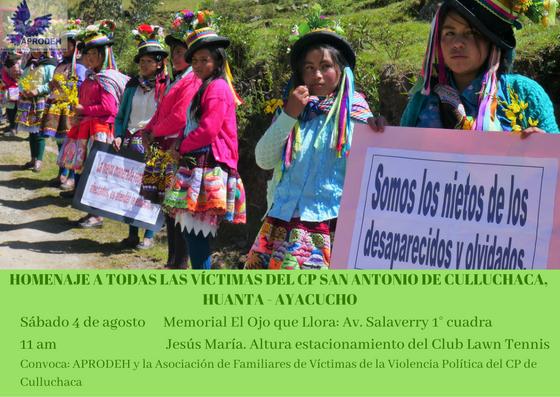Homenaje a todas las víctimas del CP San Antonio  de Culluchaca (Huanta, Ayacucho)
