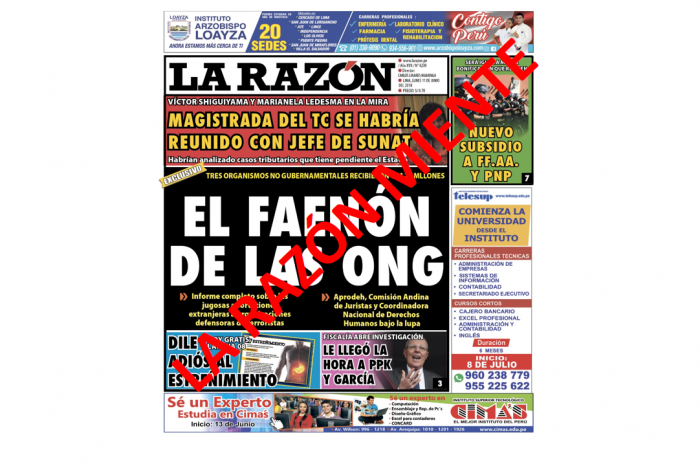 """Diario """"La Razón"""" miente  una vez más sobre las organizaciones de DDHH"""