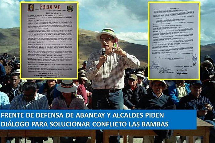 Frente de Defensa de Abancay y alcaldes se pronuncian por la detención del presidente de la comunidad campesina de Fuerabamba, Gregorio Rojas y piden diálogo