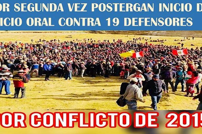 POR SEGUNDA VEZ SUSPENDEN INICIO DE JUICIO ORAL CONTRA 19 DEFENSORES PROCESADOS POR CONFLICTO LAS BAMBAS